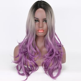 PurPle black cosPlay wigs online shopping - Ombre Synthetic Wigs quot Black Grey Purple Tone for Women Heat Resistant Fiber Cosplay Wig