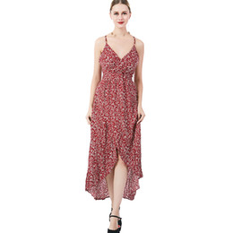 Chinese  Roy's Fans Print Women Fashion Dress V-Neck Spaghetti Strap Sexy Ankle Length Dress Female Irregular Hem Casual Dress manufacturers