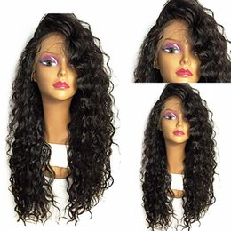 heat resistant hair synthetic curly 2019 - Free Shipping Long Loose Curly Wig Glueless Synthetic Hair Lace Front Wigs For Women 180% Density Heat Resistant Fiber H