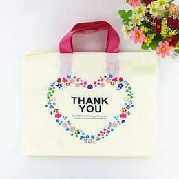 $enCountryForm.capitalKeyWord UK - Wholesale White Plastic Shopping Bag with Handle Carrier THANK YOU Heart Flower Print Boutique Packaging Wholesale