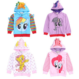 Wholesale white hoodie 3t resale online - 2017 NEW Cute Baby Girl D Hippocampus Hoodie Toddler Long Sleeve Coat Kids Rainbow Zipper Open Outwear Europe and America Fashion