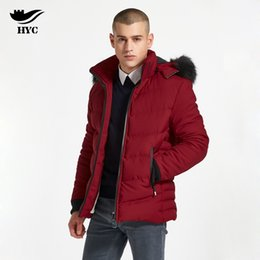 Discount snow parkas men - HAI YU CHENG Parka Cotton Overcoat Faux Fur Hood Mens Windbreaker Male Clothes Snow Wear Large Size Men Jacket Men Winte