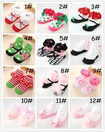 Boys Toddlers Socks Canada - Baby Newborn Non-slip Floor Socks Newborn Toddler Girl Boy Cotton Shoes Socks Kids Princess lace Bud Bow Polka Dot Zebra Leopard Print Sokcs