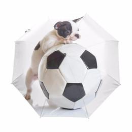 $enCountryForm.capitalKeyWord NZ - Cute French Bulldog Play the Soccer Umbrella Anti-uv Sun Protection Umbrella 3 Folding Gift Sunny Rainy Umbrellas For Women