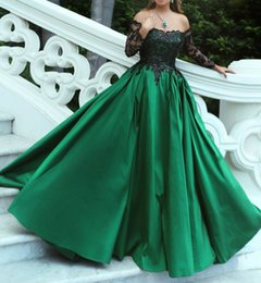 $enCountryForm.capitalKeyWord NZ - Black and Green Prom Dress Off the Shoulder Long Sleeve Satin Ball Gown Illusion Lace Formal Dress