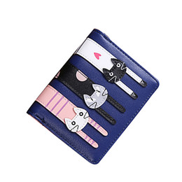 $enCountryForm.capitalKeyWord UK - FangNymph Cute Pink Ladies Functional Clutch Purse Cartoon Cute Cat Short Wallet Women PU Leather Bifold Photo Coin Card Holder