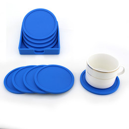 $enCountryForm.capitalKeyWord Australia - 4PCS set Silicone Drink Coaster Non-Slip Rubber Coasters Cup Dish Mats with Base Pot Holder Durable Flexible Home Kitchen Tools Party Gifts