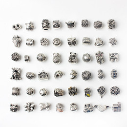 48PCS Mixed Style Wholesale Alloy Beads Charms For Pandora DIY Jewelry European Bracelets Bangles Women Girls Best Gifts on Sale