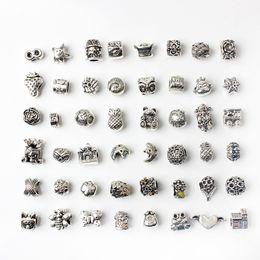 Опт 48pcs Смешанные Стиль Оптовые шарики сплава Подвески для Pandora DIY ювелирных изделий европейских браслеты браслеты Женщины девочек Лучшие подарки