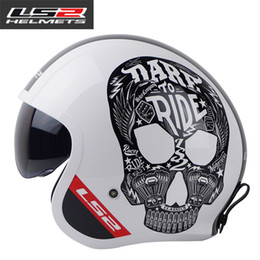 Ls2 Half Face Helmet Australia - Genuine LS2 of599 open face retro motorcycle helmet vintage half face motorbike helmet men racing moto helmets DOT approved
