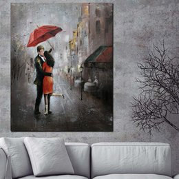 $enCountryForm.capitalKeyWord Australia - 1 Piece HD Print Wall Art Romance Couple Rain Day Street Landscape Poster Oil Painting on Canvas Modern Wall Picture No Framed