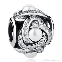 Black Floral With Freshwater Cultured Pearl Love Knot Pendant Charm Fit Pandora Bracelet 925 Sterling Silver Bead Jewelry Beads & Jewelry Making Beads