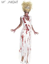 Discount scary woman costumes - MOONIGHT Women Prom Queen Role Play Long Dress Carnival Zombie Scary Costume Mummy Witch Halloween Clothes Cosplay