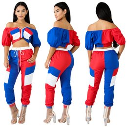 $enCountryForm.capitalKeyWord Canada - 2018 Autumn Blue Red White Mixed Colors Women Tracksuits Zipper Front Half Sleeves Short T Shirt and Long Pants Two Pieces Suits Real Image