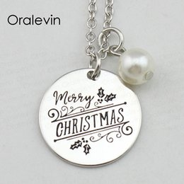 merry christmas pendant NZ - MERRY CHRISTMAS Inspirational Hand Stamped Engraved Custom Charm Silver Color Pendant Necklace Gift Jewelry,18Inch,22MM,10Pcs Lot, #LN2431