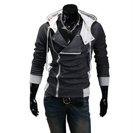 Assassins Creed Zipper Australia - 2018 Casual Cardigan Men Hoodie Sweatshirt Long Sleeved Slim Fit Male Zipper Hoodies Assassins Creed Jacket Plus Size M-6XL