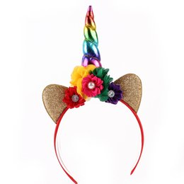 2019 Fashion 1pc Headband Glitter Unicorn Horn With Chiffon Flowers Hair Hoop Party Hair Styling Tool Braiders For Kids 6 Colors Choice Materials Braiders Hair Care & Styling