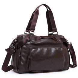 Brown leather duffle Bag online shopping - New Brand Split Leather Travel Bags for Men Large Capacity Portable Male Shoulder Bags Men s Handbags Vintage Travel Duffle Bag
