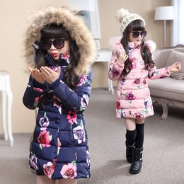 Wholesale Hot sell Fashion Medium long Winter Coat for Girls Children Clothing Big Girls Printed Cotton padded Jacket with Fur Hood
