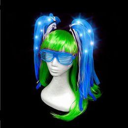 $enCountryForm.capitalKeyWord Australia - Kids Adults Glowing Noodle Hair Headband Flashing Pipe Braid Headwear Hair Accessories Wedding Glow Party Supplies