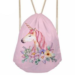 $enCountryForm.capitalKeyWord UK - Cartoon Unicorn Printing Drawstring Bag Small Women's Backpack for Girls Cute Daypack Kids Satchel Softback Mochilas customized