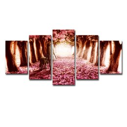 Cherry blossom landsCape painting online shopping - Modular Pictures Home Decor Canvas Framed Pieces Cherry Blossoms Painting Girl And Dog Posters For Living Room Wall Art