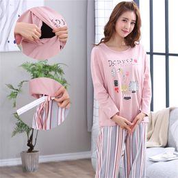 6ae4025488 Maternity Striped Pajamas Set Full Sleeve Breastfeeding Sleepwear Nursing  Pajamas for Pregnant Women Maternity Clothings