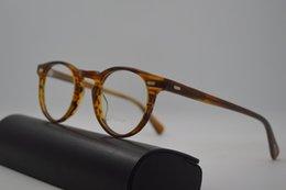 Toptan satış Vintage optik miyopi kadın ve erkekler gözlük reçete güneş mercek Gregory Peck moda yuvarlak gözlük çerçeveleri ov5186 Oliver halkları