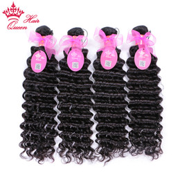 Queen Brazilian Deep Wave Hair Australia - Queen Hair Products Brazilian Deep Curly Wave 4pcs lot Virgin Human Hair Weave #1B Natural Color Fast Free Shipping BH704
