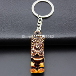 Discount cool keychains - SENHUA Cool Boy Men's Tribal totem tiki keyrings Keychains Car Key Rings for female Children's Gifts YR25