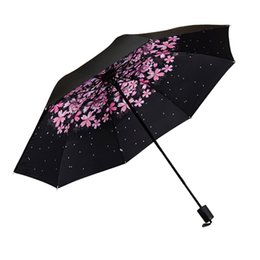 China Sunny and Rainy Umbrella Flowers Parasol Three Folding Sunproof Umbrella Portable Outside Travel Sunscreen Women Umbrellas cheap blue outside lights suppliers