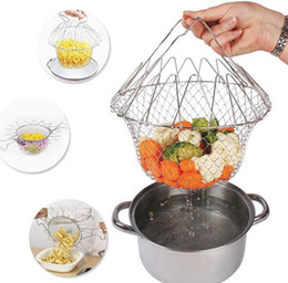 $enCountryForm.capitalKeyWord Australia - Collapsible Colander Mesh Basket Steam Rinse Strainer Stainless Steel Filter Kitchen Sieve Fry French Cookware Tools 120pcs
