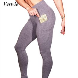 d919217e91db6 Vertvie High Elastic Solid Grey Yoga Leggings Breathable Fitness Tights  Women Seamless Skinny Black Running Sport Pants Gymwear