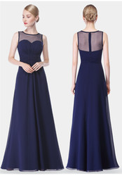 long empire waist bridesmaid dresses 2019 - Navy Blue Bridesmaid Dresses Chiffon Long Floor Length Empire Waist Maid Of Honor Jewel Neck Sheer Zipper Back Honor Bri