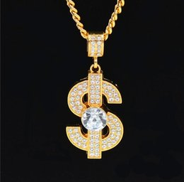 $enCountryForm.capitalKeyWord Australia - Golden Bling Big Dollar $ Sign necklaces Hip Hop Jewelry Gifts Chains Men Women Charm Crystal Money pendants