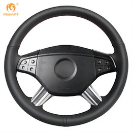 Genuine Leather Steer Covers Australia - MEWANT Black Genuine Leather Car Steering Wheel Cover for Mercedes Benz M-Class ML350 ML500 2005 2006 GL-Class GL450 2006-2009
