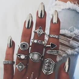 online shopping Bohemian Pack Vintage Blue stone Rings Lucky Stackable Midi Rings Set Knuckle Ring for Women Jewelry Party