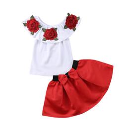 f2c7ab807e5 Enfants Bébé Fille Hors Épaule 3D Broderie Rose Fleur Blouse Top Rouge Bow Robe  Jupe Outfit Vêtements 2-7T