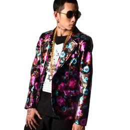 China Male Fashion Hip Hop Blazer Coat Stylish Super Star Singer Dancer Hip Hop Costumes Men's PU Leather Casual Suit Jacket supplier stars leather suppliers