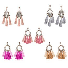 $enCountryForm.capitalKeyWord NZ - 2018 Fashion Geometric Round Vintage Earrings For Women Jewelry Earrings Ancient Long Wool Tassel Drop Earrings Dangle D927S