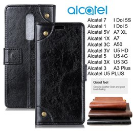 cards slots NZ - For Alcatel 7 5V 1 1C 5009A 5086A A7 U5 Plus Luxury Retro Wallet Top Leather Business Phone Case Alcatel5 1X 3V 3X 3C Idol 5 A50 Card Slots