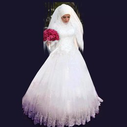 Wholesale Long Sleeves Muslim Islamic Wedding Dresses High Neck New Elegant A Line Formal Wedding Gowns Long Floor Length Bridal Party Gowns