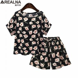 2eb13725b13 2 piece set women Summer Floral Print Casual loose Chiffon tops + shorts two  piece set Female Office Suit Set plus size xl-5XL