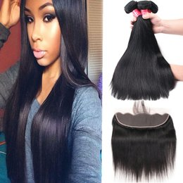 Discount malaysian straight hair 24 inches - Brazilian Virgin Hair Body Wave Straight Loose Wave Deep Wave Kinky Curly 3 Bundles With 13x4 Ear to Ear Lace Frontal Cl