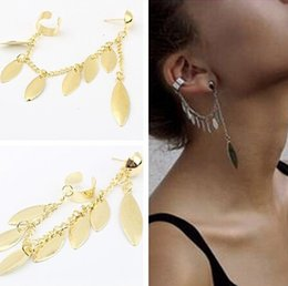 gold leaves Canada - 12pcs New 2016 Fashion gold Silver Leaf Leaves ear cuff for Women Girl's jewelry gifts cool chain link contact clip earring