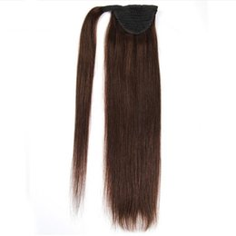 european straight human hair extensions UK - 16inch 18inch 20inch 80g Straight Ponytail Human Hair All Colors European Remy Clip in Wrap Around Human Hair Ponytail Extensions