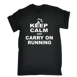 Wholesale Keep Calm And Carry On Running T SHIRT Official Run Tee Training birthday gift