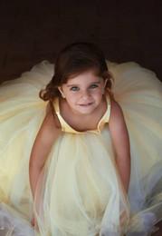 $enCountryForm.capitalKeyWord Australia - Lovely 209 Yellow Flower Girls Dresses For Wedding A Line Sexy V Neck Satin tulle Skirt Princess Girls Pageant Dresses