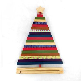 Gift Craft Christmas Ornament Australia - Striped Rotating Wooden Christmas Tree Ornament Color Xmas Decoration Craft Block Toys For Kid's Gift Home New Year's De ZY3