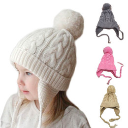 515cecd96d6 Cute Ages 2-6 Baby Hat Winter Hats For Girls Cotton Thick Warm Knitted Ears Beanie  Children Boy Ball Cap